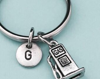 Gas pump keychain, gas pump charm, gas personalized keychain, initial keychain, initial charm, customized keychain, monogram