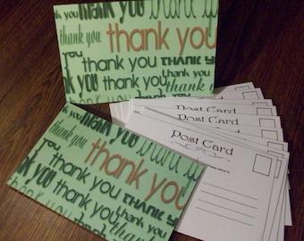 SALE 30% OFF - Thank you Postcards, Postcards, Set of 10 Post Cards, Thank You Card, Postcard Set, Handmade Post Cards