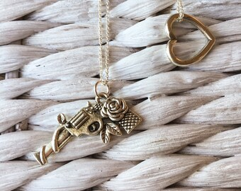 Loves on the Run Silver Layered Charm Necklaces