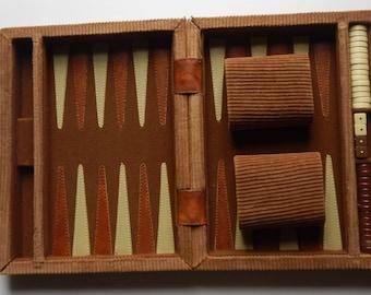 Vintage Corduroy Traveling Backgammon Mini Game!