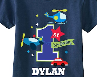 1st Birthday Shirts or Any Birthday for Boys with Transportation and Cars on NAVY Shirts