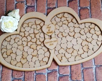 Wedding Guest Book Alternative dropbox frame, Heart Drop Box Wedding Guestbook, Rustic Wedding Guest Book, Personalized Wooden Guest Book