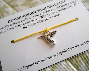 Hummingbird Wish Bracelet - Wish Bracelet - Hummingbird Bracelet - Friendship Bracelet - Party Favor - Bridesmaid Gift - Cheer Up Gift