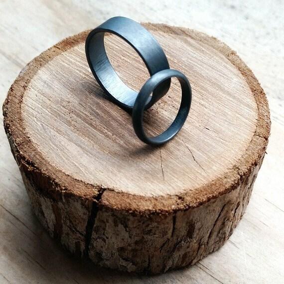 Mens Sterling Silver Wedding Ring OxidizedOxidised
