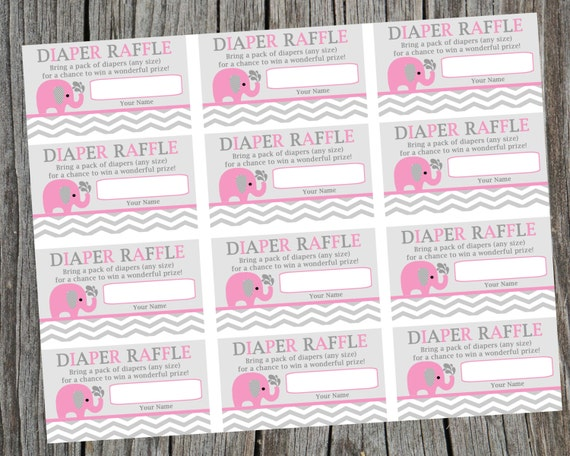 Attractive Instant Download Printable Diaper Raffle Tickets. Pink Elephant And Chevron  Diaper Raffle Ticket. Baby Shower Raffle Tickets.