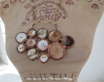 Soldered Button Necklace Mother of Pearl Bib Necklace Handmade