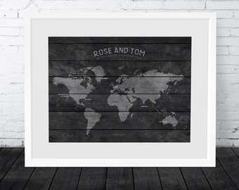 Wood Look wall map, World map wall art, World travel map print, Personalised world map, Traveller gift, Honeymoon map, Anniversary gift