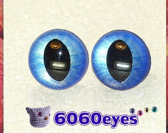 1 Pair Brushed Sapphire hand painted safety eyes, cat eyes, plush eyes, animal eyes, craft eyes, amigurumi eyes, toy eyes, plastic eyes