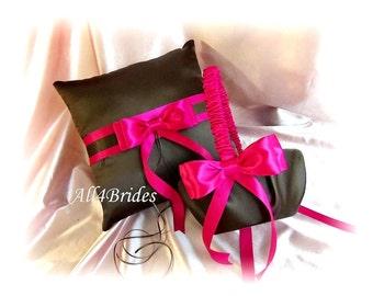 Wedding Pillow and Basket Chocolate Brown and Fuchsia,  Wedding Ring Bearer Pillow Flower Girl Basket Ceremony Decor