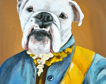 11x14 size in Outfit or Costume pet in costume painting CUSTOM PET PORTRAIT 11x14 size canvas
