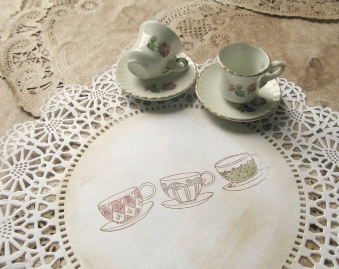 "Alice Paper Doilies, 10"" Mad Tea Party Decor, Tea Cups Design, Hand Stamped, Aged, Vintage Style Alice in Wonderland - set of 10"