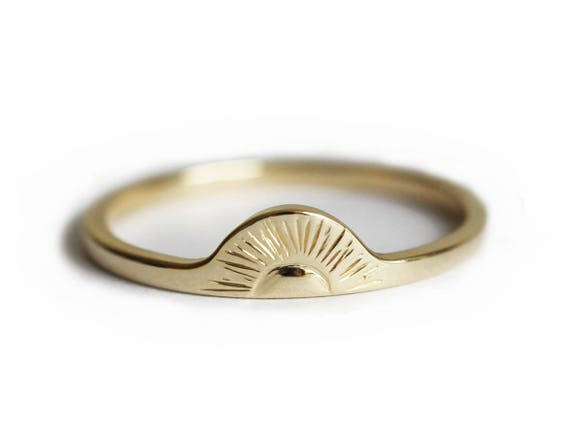 Sunrise Ring Gold Sun Ring 14k Solid Gold Band Sun Ring
