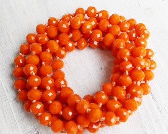 orange necklaces, rondelle necklaces, hand knotted, 45 inches necklace, crystal necklaces, 8mm × 6mm, add your own pendant,