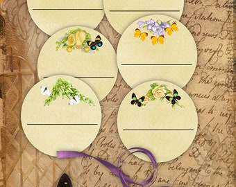 Flowers Bookplates/Labels Printable Stationary Crafts Scrapbooking Butterflies Original photographs Instant download