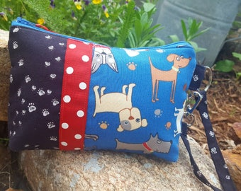 Puppy Dog ID Wristlet, Patchwork Phone Wristlet, Dog Cosmetic Bag, Dog Purse, Dog Wristlet, Dog Gift, Vet Tech Gift, Dog Zipper Bag