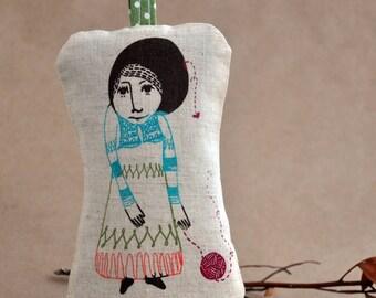 The girl who knitted love - - sachet pillow (lavender)