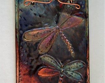 Dragon Flies raku fired ceramic tile wall hanging