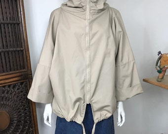 Vtg 80s khaki taupe minimalist avant garde jacket
