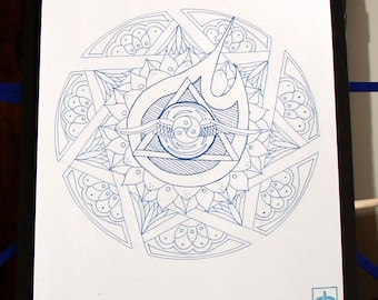Sevenfold Spirit Mandala - Original Ink Drawing On Paper 10x13 Mounted