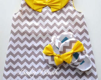 Grey Chevron Retro A-line Dress Yellow Collar Shoes Set Infant Outfit Baby Shoes