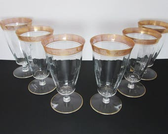 Crystal footed tumblers glasses gold trim