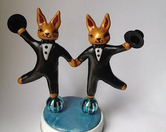 Two Dancing Male Rabbit Wedding Cake Toppers with Top Hats. Funny Wedding Cake Topper. Unique, fabulous same sex wedding cake topper