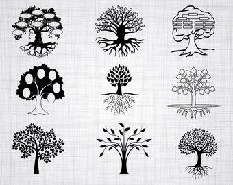 Family Tree SVG Bundle, Family Tree SVG, Family Tree Clipart, Cut Files For Silhouette, Files for Cricut, Vector, Svg, Dxf, Png, Eps, Decal