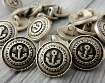 "ANCHOR Metal Buttons, Antique Silver Metal Button,  5/8"" Qty 4 , Nautical Button, Great for Leather Wrap Clasps or Clothing"