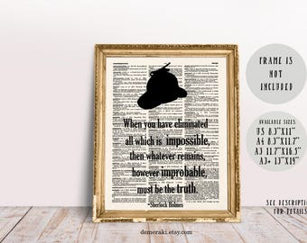 Sherlock, Sherlock Holmes, Sherlock Art, Sherlock Poster, Sherlock Decor, Book Print, Dictionary Page, Wall Art Print, Typography Art, 521