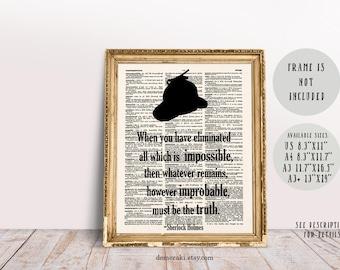 Sherlock, Sherlock Holmes, Sherlock Art, Sherlock Poster, Sherlock Decor, Book Print, Dictionary Page, Wall Art Print, Typography Art, 521