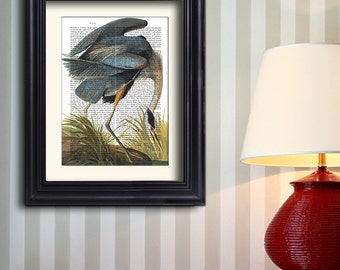 Blue Heron Print 1 - heron wall art heron print bird print living room decor dining room art print bedroom decor nature art nature decor