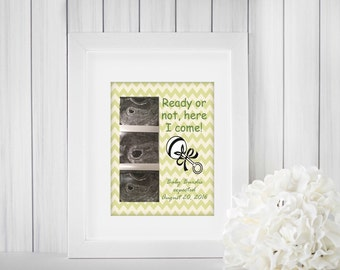 Pregnancy Annoucement, Printed Artwork, Personalized Print, Ultrasound Artwork, Sonogram Artwork, New Baby Announcement, Ultrsound Photo