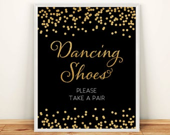 Printable Wedding Dancing shoes Please take a pair sign 8x10 Gold Glitter dancing shoes sign DIY Wedding Digital Instant Download HQ