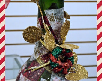 Altered, Recycled, Repurposed, Upcycled Wine Bottle with Lights - Glitter and Gold