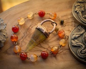 Acorn Flourite Pendulum with Carnelian