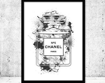 Chanel Perfume Print, Perfume Poster, Chanel Bottle Print, Chanel Perfume Art, Chanel no 5, Coco Chanel Perfume Printable, Instant Download