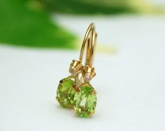 Natural Peridot August earrings yellow gold 10k/Genuine Peridot & Diamond earrings lever back yellow gold 10k /conflict free diamonds