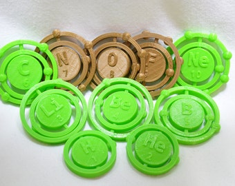 Atomic Element Spinner Fidgets! 3D printed, customizable, metal-free, hand-held fidgets based on atomic models