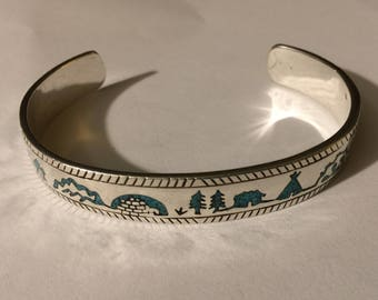 Vintage sterling silver inlaid turqoise cuff bracelet 22 g
