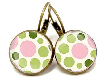 earrings with green and pink dots