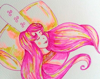Peinture bretonne Aurora, Rose dans le bois dormant