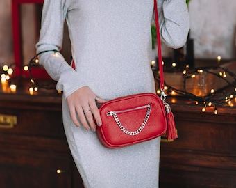 Leather Bag Tefia, Red Bag, Red Crossbody, Leather Crossbody, Small Crossbody,