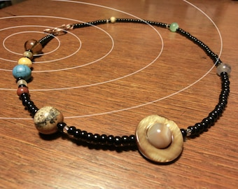 Solar System Necklace, Real Natural Gemstones, Jumbo Size, Mens Necklace, Accurate Authentic Proportional Distances, by Chain of Being