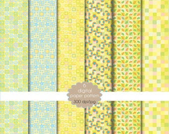 Paper yellow summer collection-set of paper for scrapbooking