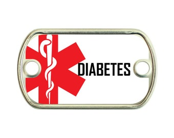 Diabetes Medical Alert 2 Holes Stainless Steel Mini Dog Tag For Paracord Bracelets