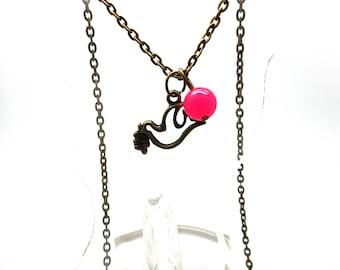 Pink fantasy bird bead pendant necklace