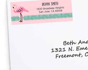 Flamingo Return Address Labels - Baby Shower, Birthday Party, Bridal Shower Address Labels - Cute Return Address Stickers - 30 Labels