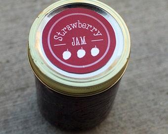 Strawberry canning jar label | Mason jar label for strawberry jam- 2.5 inch diameter