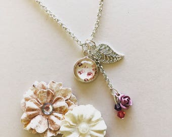Leaf Necklace, Dainty Necklace, Multi Charm Necklace, Pink Flower Necklace, Fairy Kei, Sweet Lolita, Kawaii Necklace, Girly Necklace
