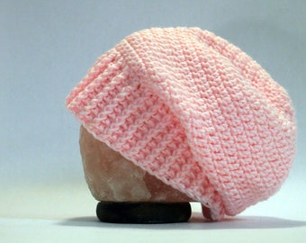Hand Crocheted Slouch Beanie - Light Pink